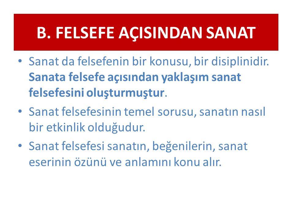 B. FELSEFE AÇISINDAN SANAT