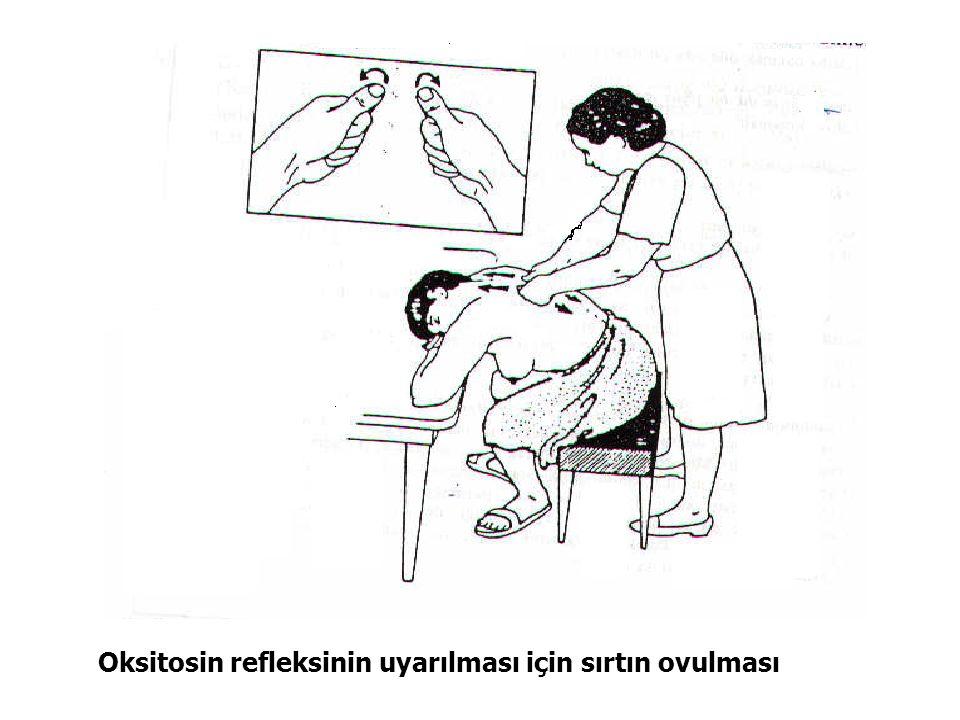 Oksitosin refleksinin uyarılması için sırtın ovulması