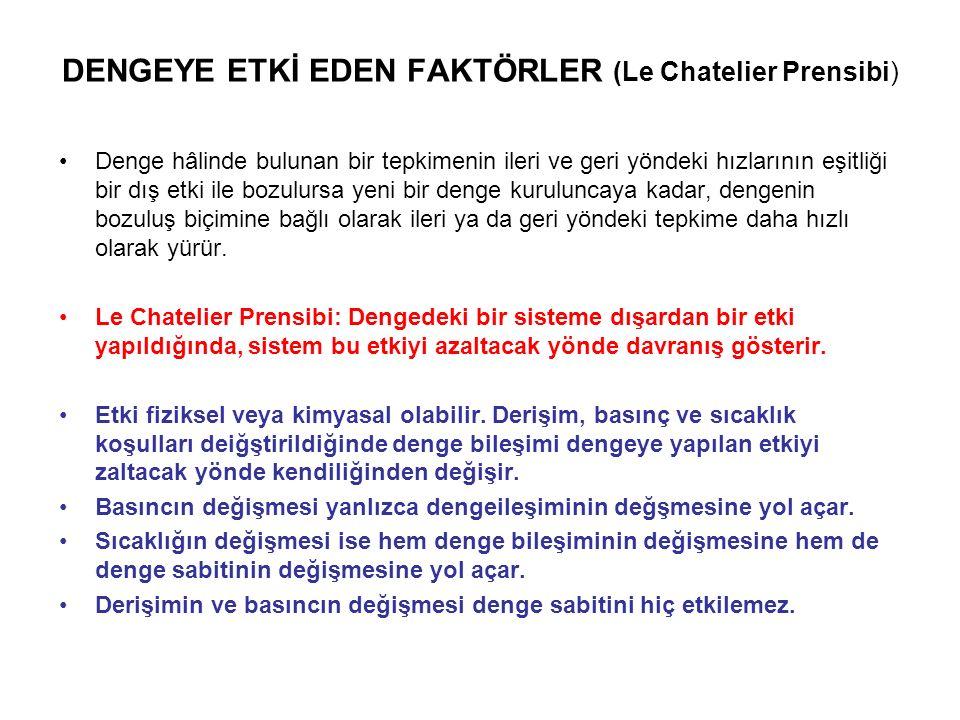 DENGEYE ETKİ EDEN FAKTÖRLER (Le Chatelier Prensibi)