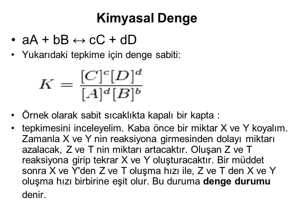 Kimyasal Denge aA + bB ↔ cC + dD Yukarıdaki tepkime için denge sabiti: