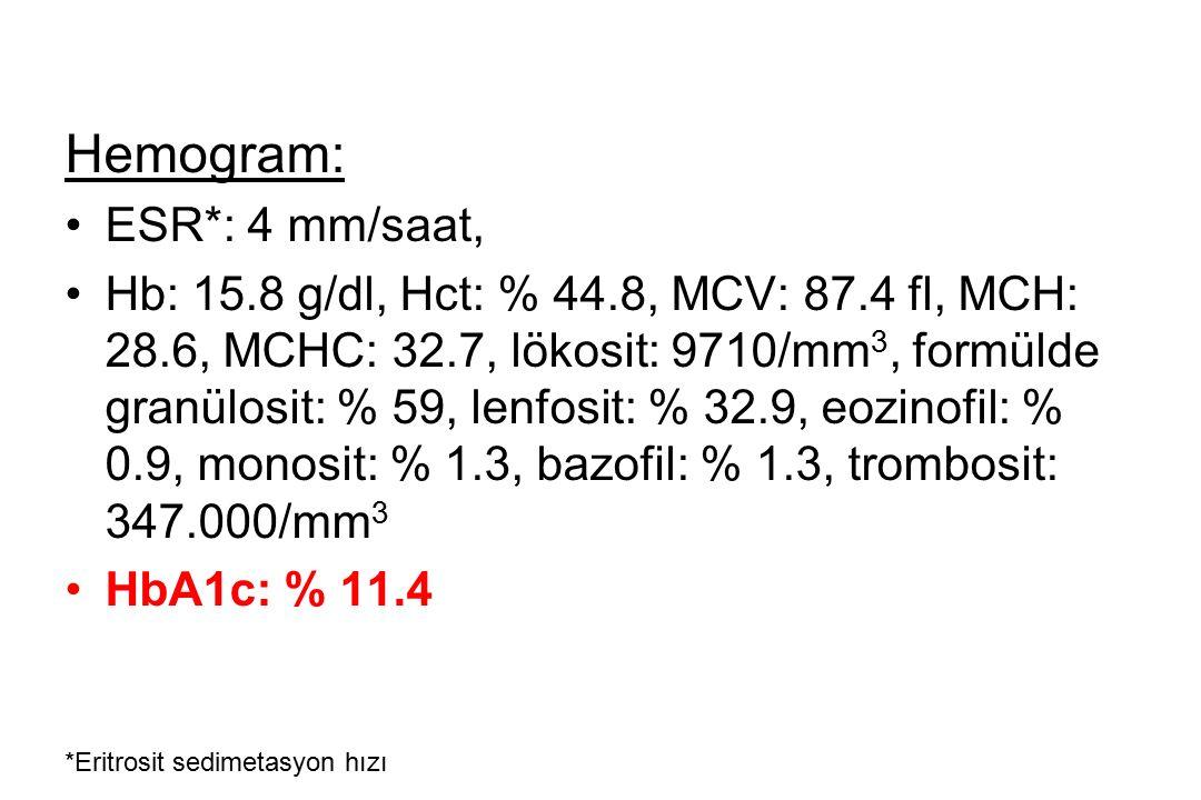 Hemogram: ESR*: 4 mm/saat,