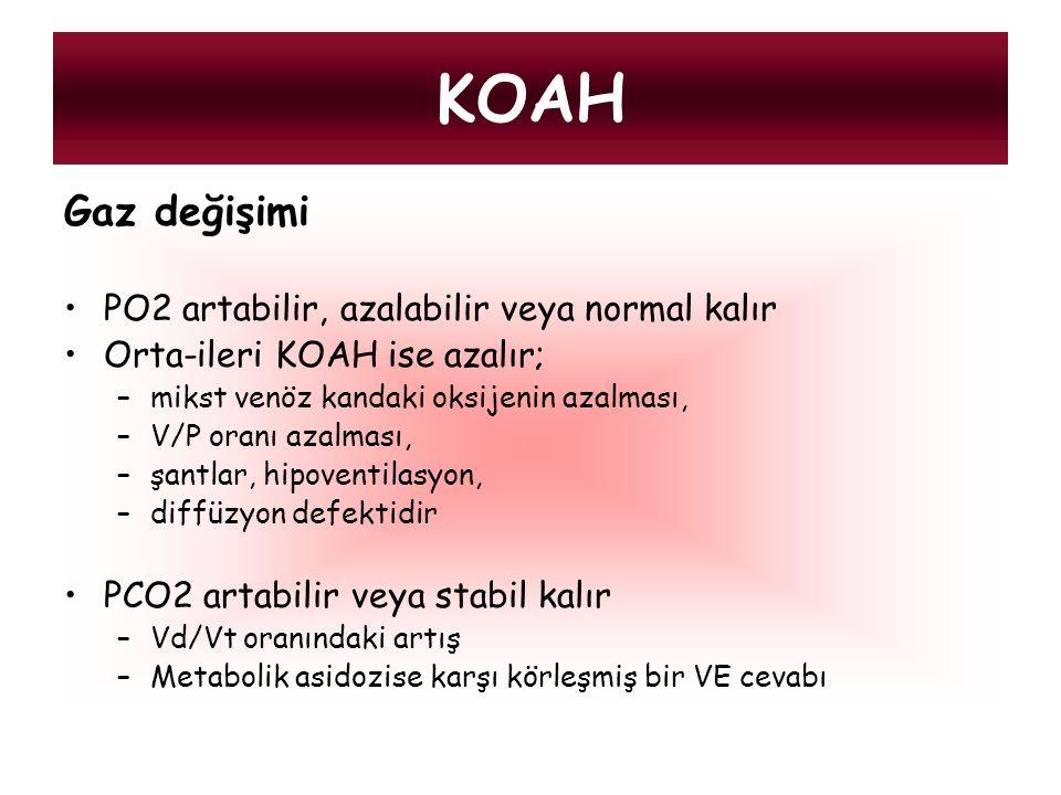 KOAH Gaz değişimi PO2 artabilir, azalabilir veya normal kalır