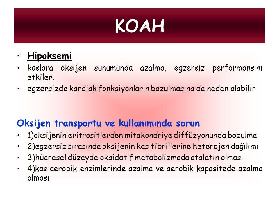 KOAH Hipoksemi Oksijen transportu ve kullanımında sorun