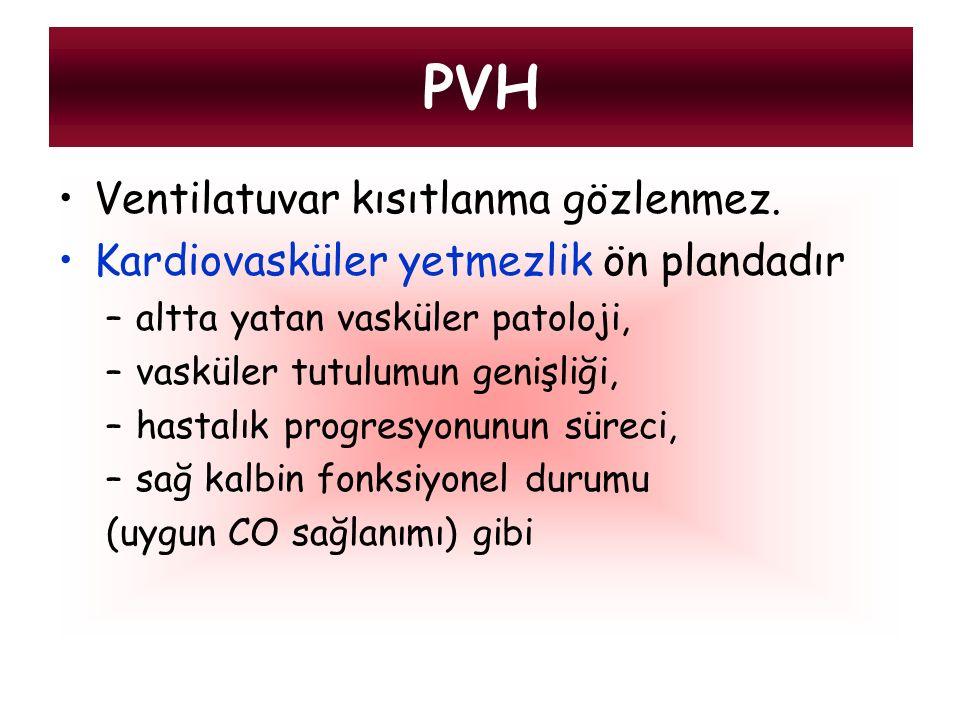 PVH Ventilatuvar kısıtlanma gözlenmez.