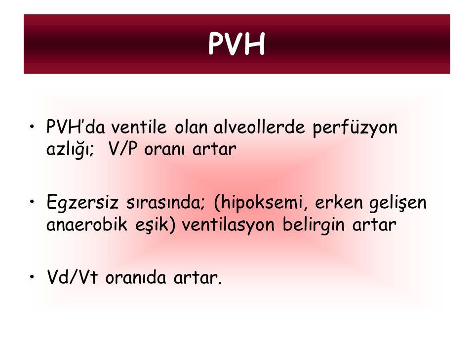 PVH PVH'da ventile olan alveollerde perfüzyon azlığı; V/P oranı artar