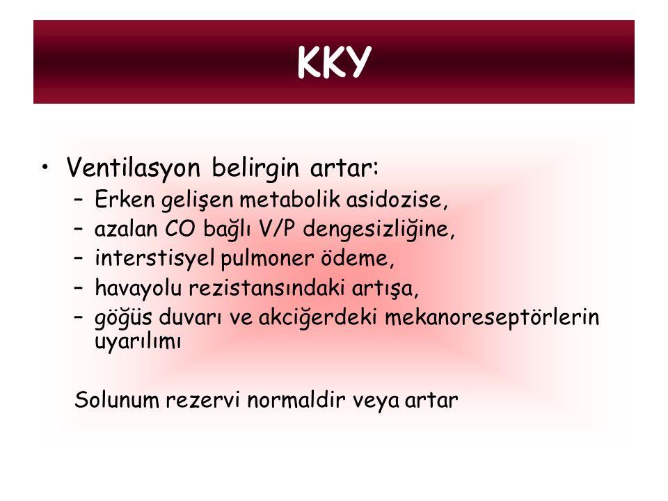 KKY Ventilasyon belirgin artar: Erken gelişen metabolik asidozise,