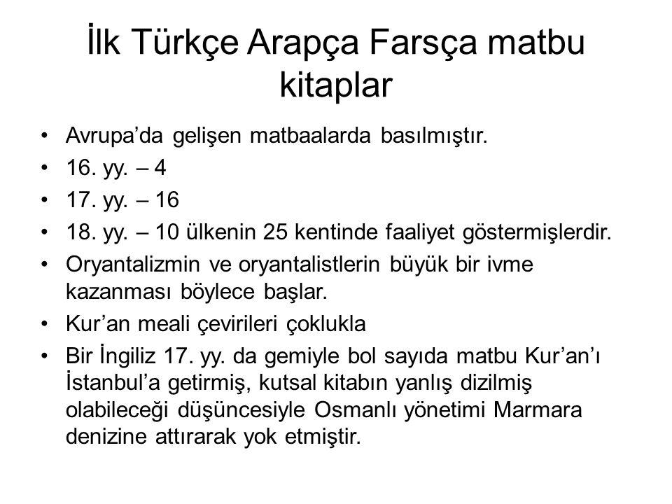 İlk Türkçe Arapça Farsça matbu kitaplar