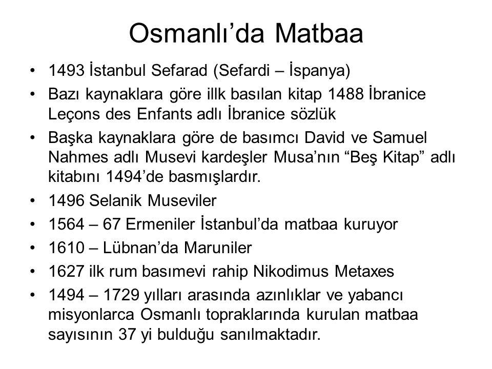 Osmanlı'da Matbaa 1493 İstanbul Sefarad (Sefardi – İspanya)