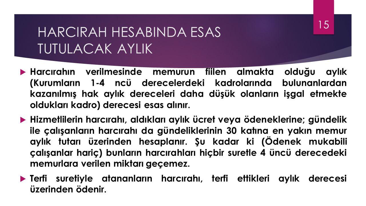 HARCIRAH HESABINDA ESAS TUTULACAK AYLIK