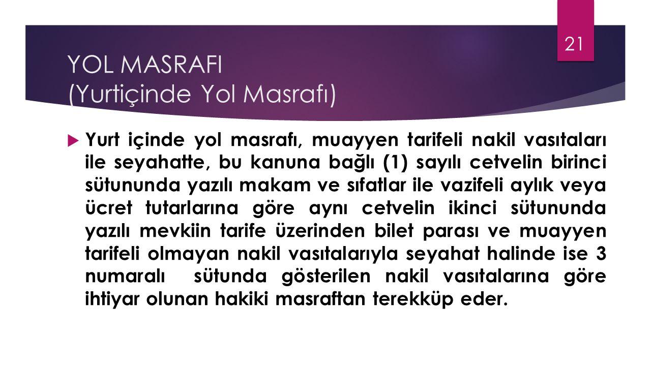 YOL MASRAFI (Yurtiçinde Yol Masrafı)