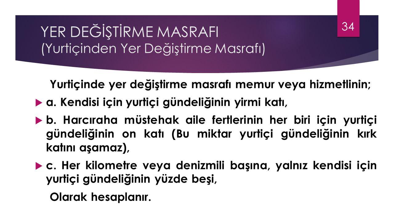 YER DEĞİŞTİRME MASRAFI (Yurtiçinden Yer Değiştirme Masrafı)