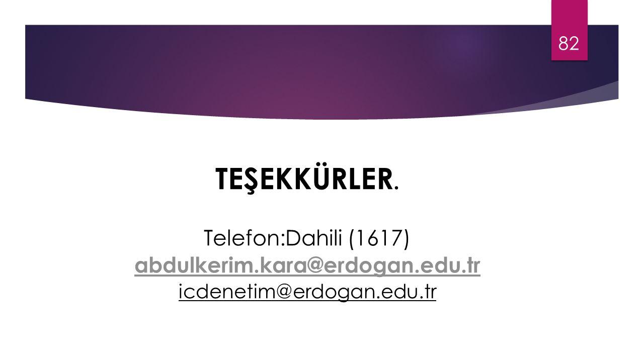 TEŞEKKÜRLER. Telefon:Dahili (1617) abdulkerim.kara@erdogan.edu.tr