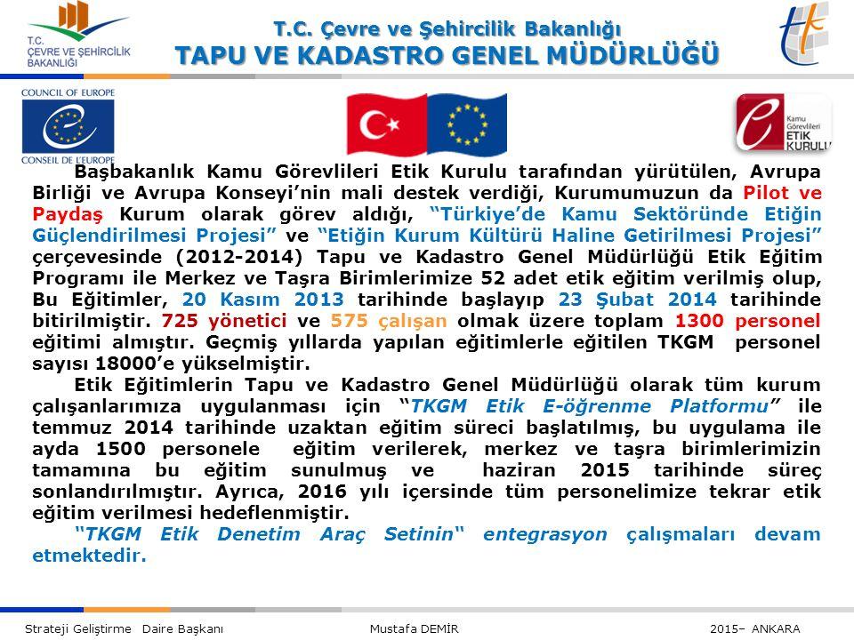 Başbakanlık Kamu Görevlileri Etik Kurulu tarafından yürütülen, Avrupa Birliği ve Avrupa Konseyi'nin mali destek verdiği, Kurumumuzun da Pilot ve Paydaş Kurum olarak görev aldığı, Türkiye'de Kamu Sektöründe Etiğin Güçlendirilmesi Projesi ve Etiğin Kurum Kültürü Haline Getirilmesi Projesi çerçevesinde (2012-2014) Tapu ve Kadastro Genel Müdürlüğü Etik Eğitim Programı ile Merkez ve Taşra Birimlerimize 52 adet etik eğitim verilmiş olup, Bu Eğitimler, 20 Kasım 2013 tarihinde başlayıp 23 Şubat 2014 tarihinde bitirilmiştir. 725 yönetici ve 575 çalışan olmak üzere toplam 1300 personel eğitimi almıştır. Geçmiş yıllarda yapılan eğitimlerle eğitilen TKGM personel sayısı 18000'e yükselmiştir.