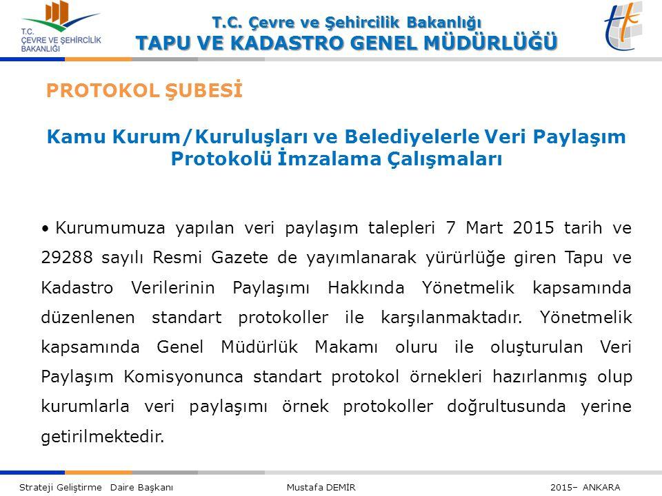 Kamu Kurum/Kuruluşları ve Belediyelerle Veri Paylaşım Protokolü İmzalama Çalışmaları