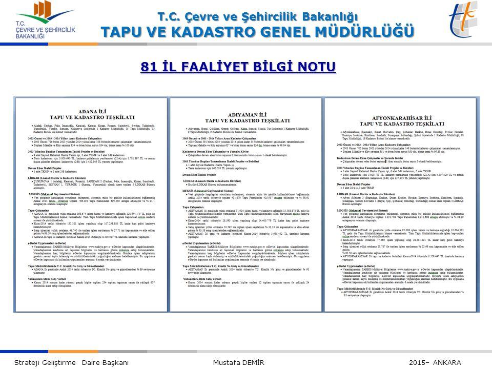 81 İL FAALİYET BİLGİ NOTU
