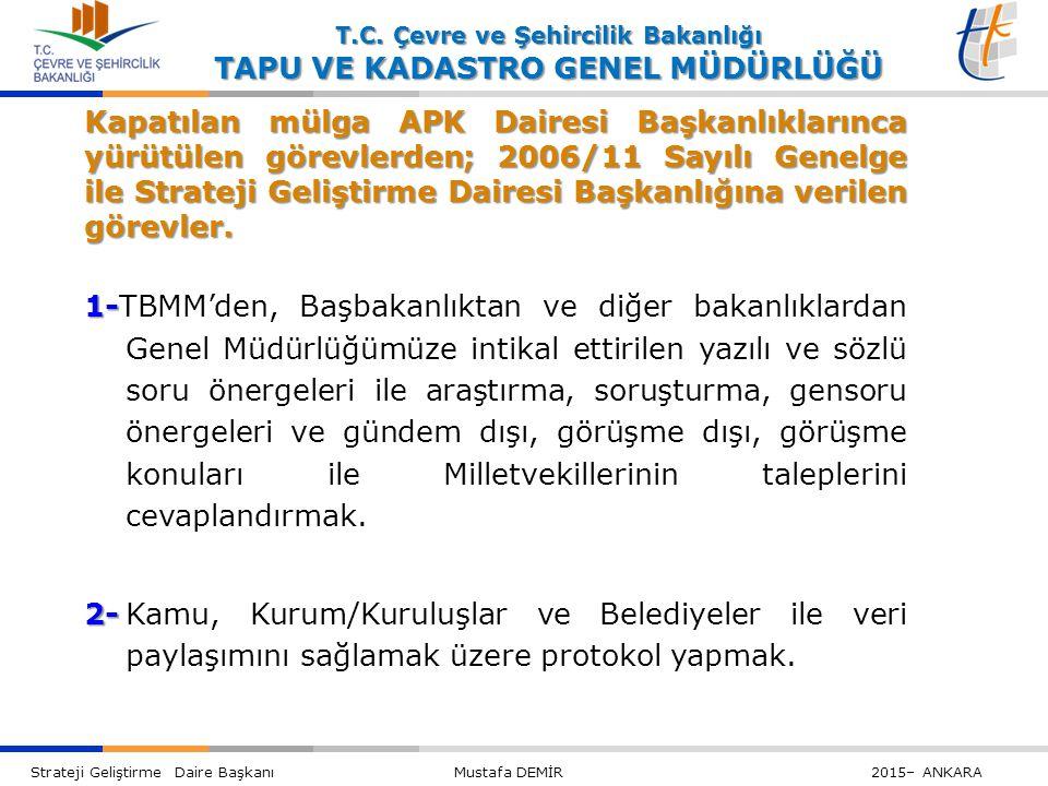 Kapatılan mülga APK Dairesi Başkanlıklarınca yürütülen görevlerden; 2006/11 Sayılı Genelge ile Strateji Geliştirme Dairesi Başkanlığına verilen görevler.