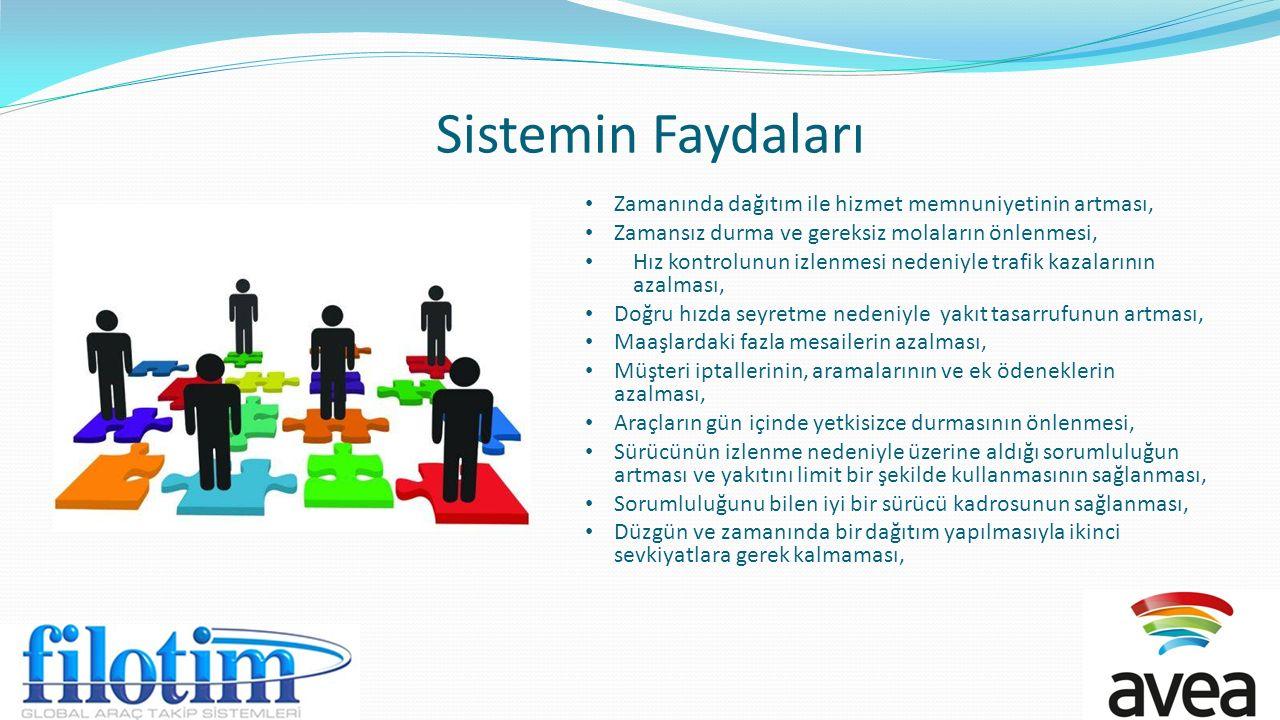 Sistemin Faydaları Zamanında dağıtım ile hizmet memnuniyetinin artması, Zamansız durma ve gereksiz molaların önlenmesi,
