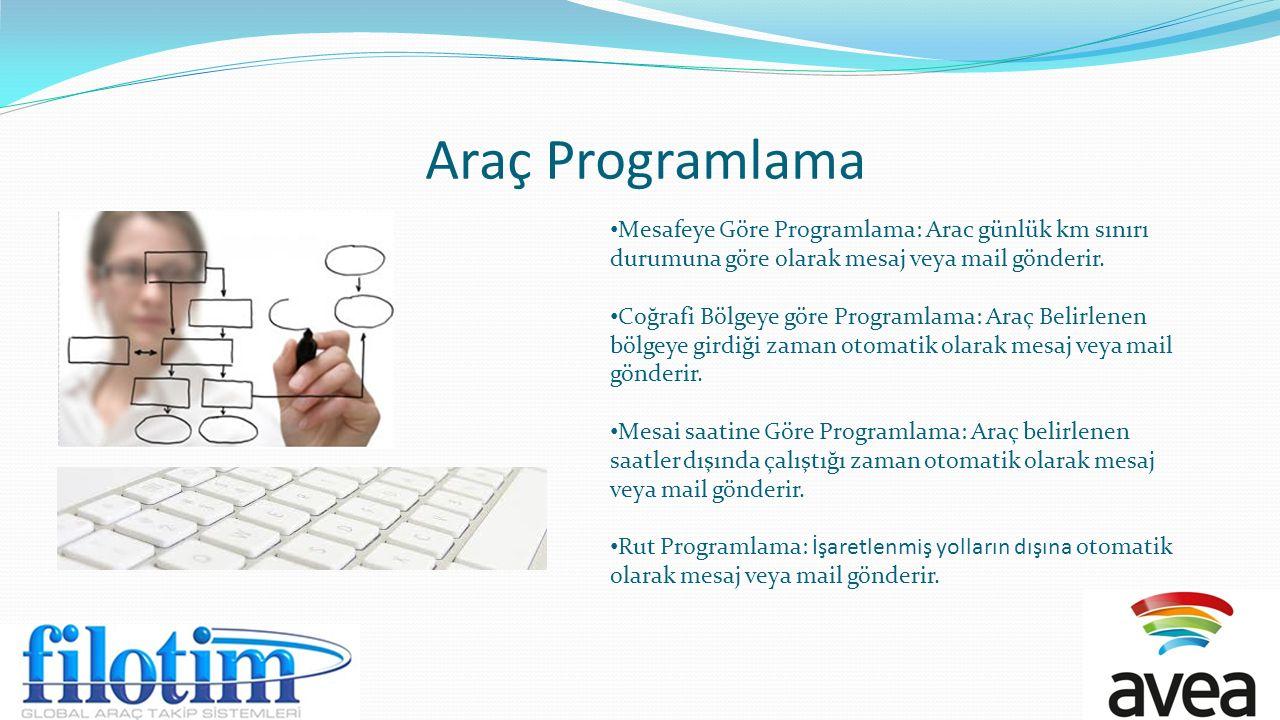 Araç Programlama Mesafeye Göre Programlama: Arac günlük km sınırı durumuna göre olarak mesaj veya mail gönderir.