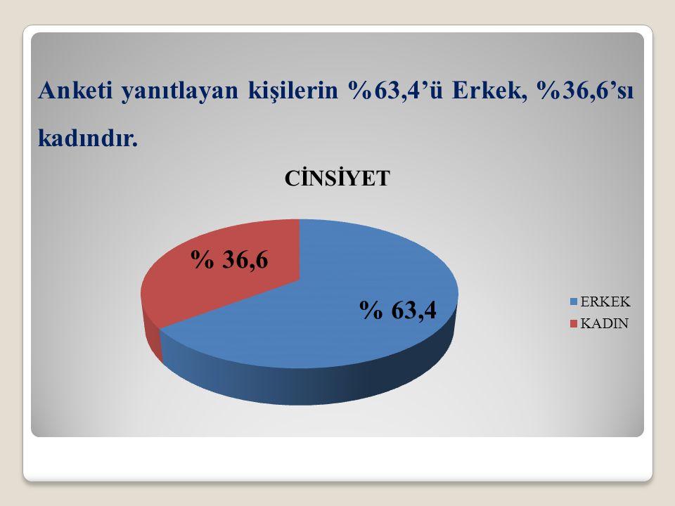 Anketi yanıtlayan kişilerin %63,4'ü Erkek, %36,6'sı kadındır.