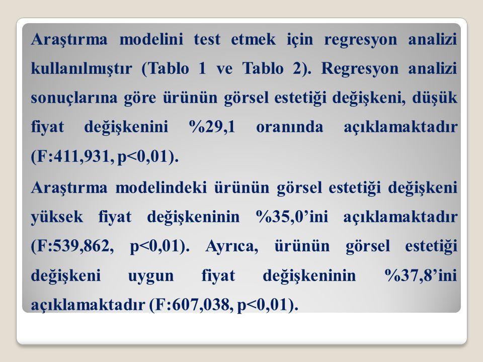 Araştırma modelini test etmek için regresyon analizi kullanılmıştır (Tablo 1 ve Tablo 2).