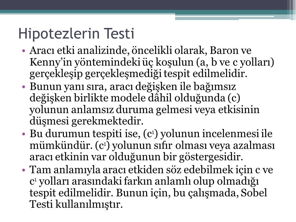 Hipotezlerin Testi