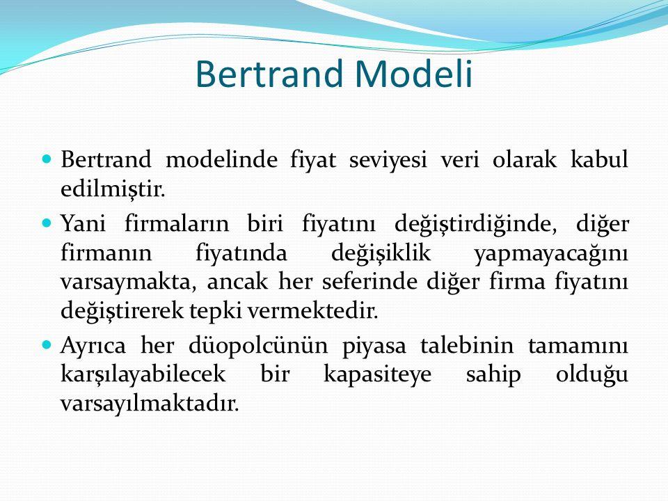 Bertrand Modeli Bertrand modelinde fiyat seviyesi veri olarak kabul edilmiştir.