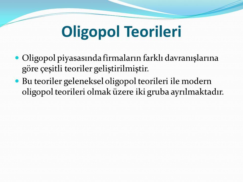 Oligopol Teorileri Oligopol piyasasında firmaların farklı davranışlarına göre çeşitli teoriler geliştirilmiştir.
