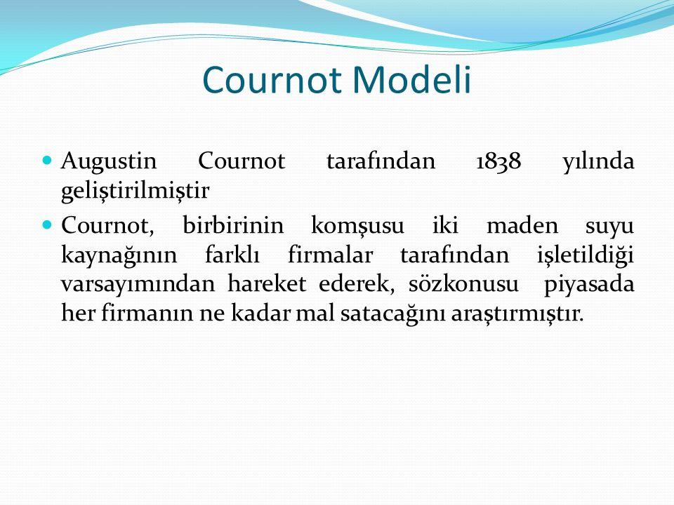 Cournot Modeli Augustin Cournot tarafından 1838 yılında geliştirilmiştir.