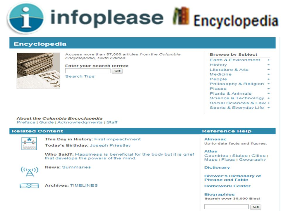 Infoplease - Encyclopedia