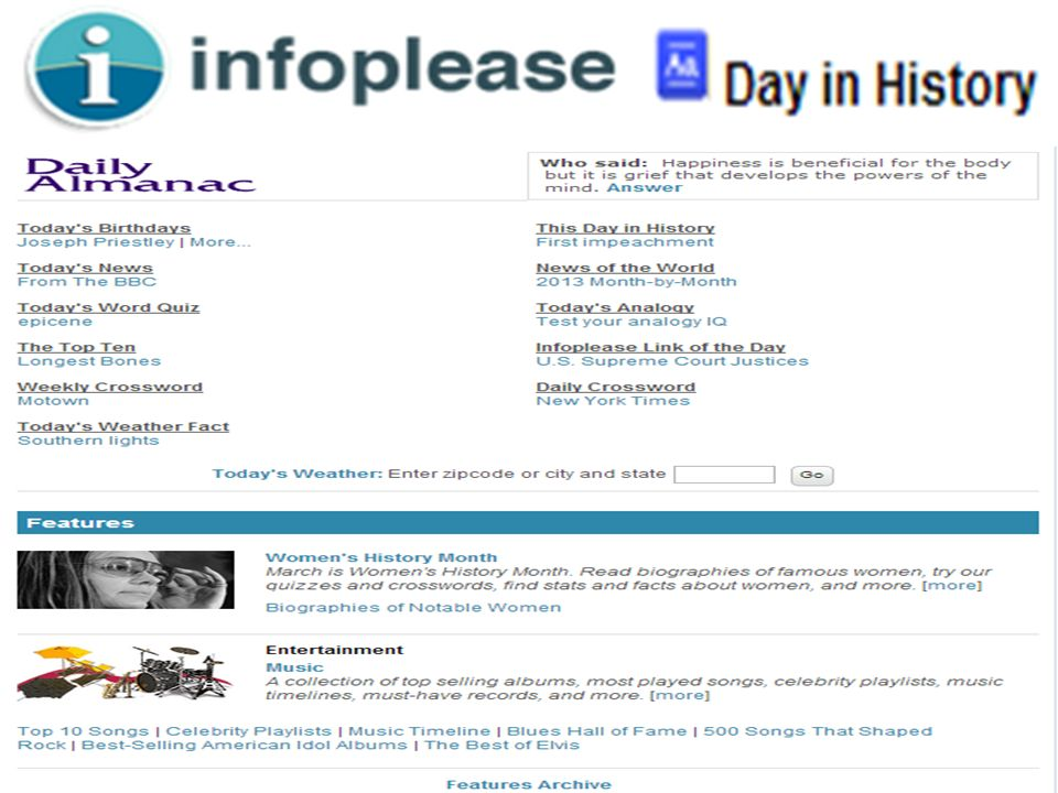 Infoplease – Day in History