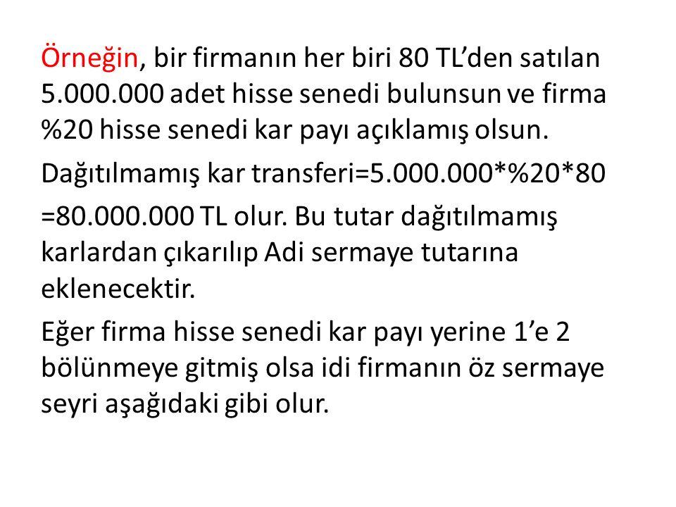 Örneğin, bir firmanın her biri 80 TL'den satılan 5. 000