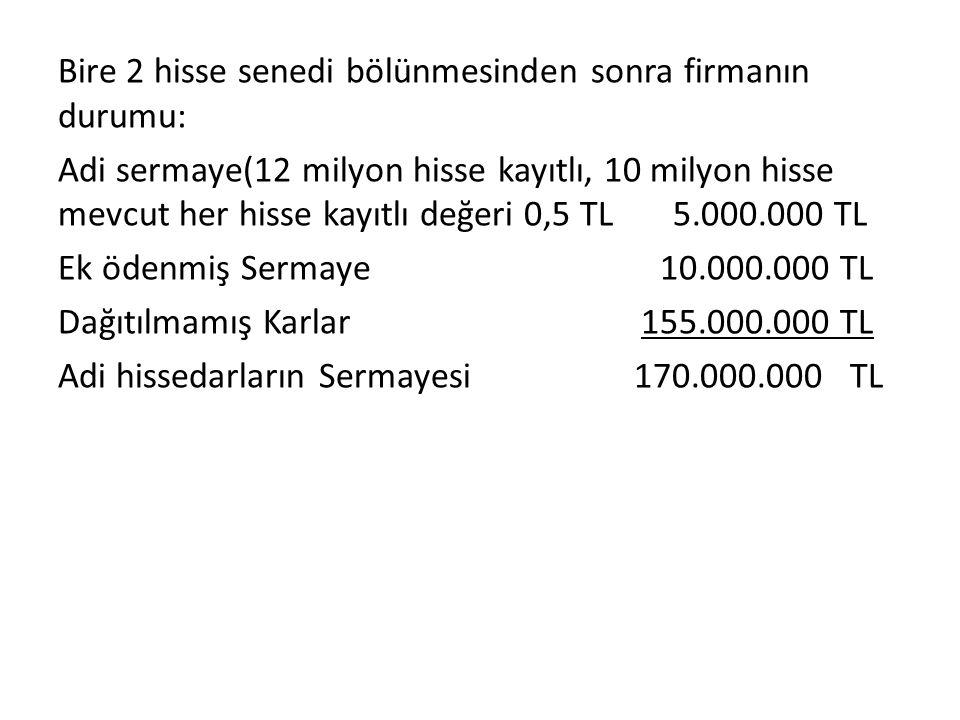 Bire 2 hisse senedi bölünmesinden sonra firmanın durumu: Adi sermaye(12 milyon hisse kayıtlı, 10 milyon hisse mevcut her hisse kayıtlı değeri 0,5 TL 5.000.000 TL Ek ödenmiş Sermaye 10.000.000 TL Dağıtılmamış Karlar 155.000.000 TL Adi hissedarların Sermayesi 170.000.000 TL