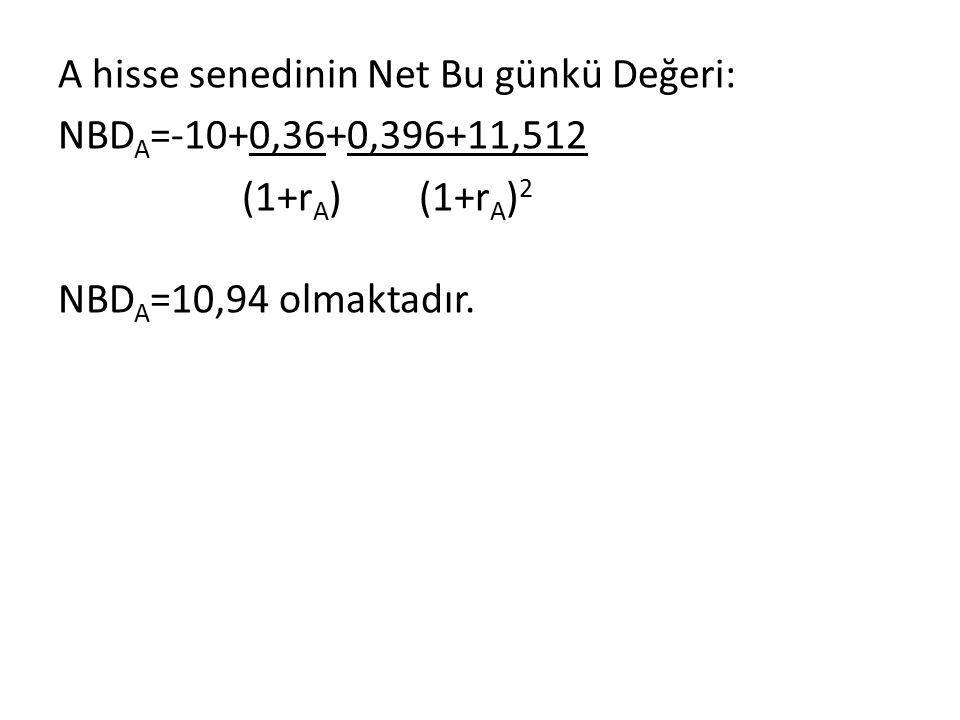 A hisse senedinin Net Bu günkü Değeri: NBDA=-10+0,36+0,396+11,512 (1+rA) (1+rA)2 NBDA=10,94 olmaktadır.