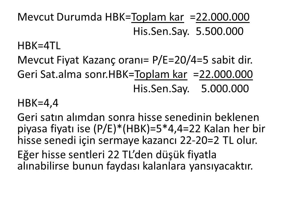 Mevcut Durumda HBK=Toplam kar =22. 000. 000 His. Sen. Say. 5. 500