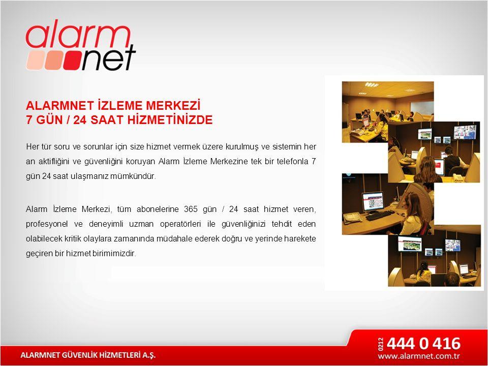 ALARMNET İZLEME MERKEZİ 7 GÜN / 24 SAAT HİZMETİNİZDE