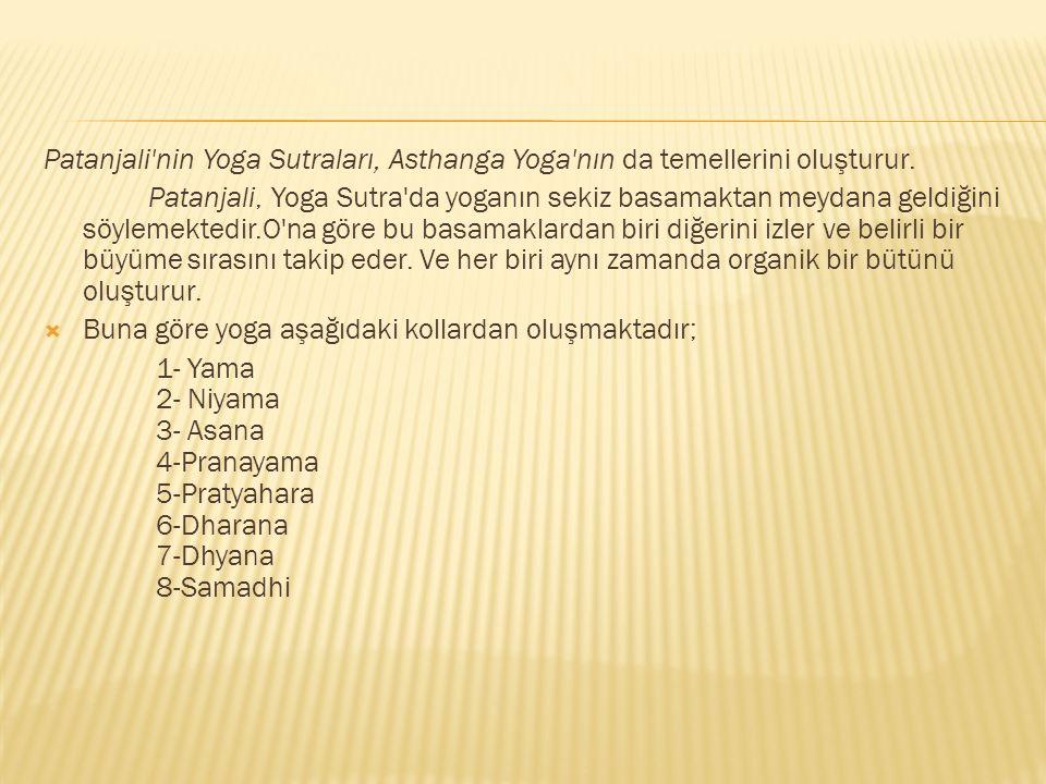Patanjali nin Yoga Sutraları, Asthanga Yoga nın da temellerini oluşturur.