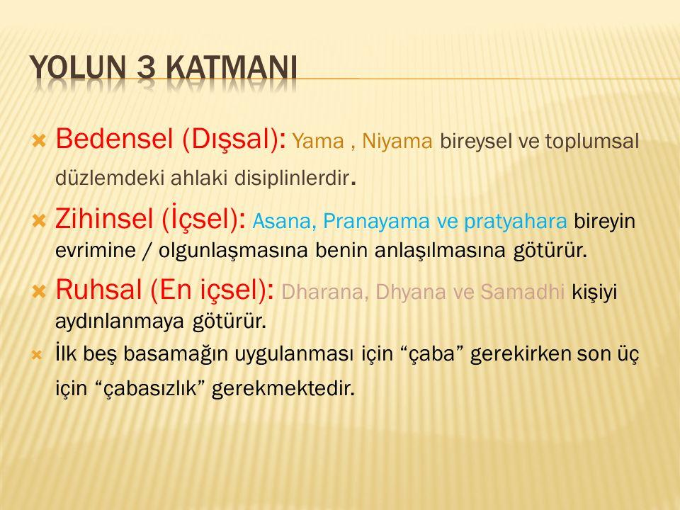 Yolun 3 katmani Bedensel (Dışsal): Yama , Niyama bireysel ve toplumsal düzlemdeki ahlaki disiplinlerdir.