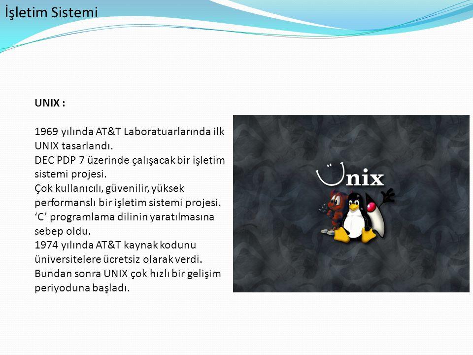 İşletim Sistemi UNIX : 1969 yılında AT&T Laboratuarlarında ilk