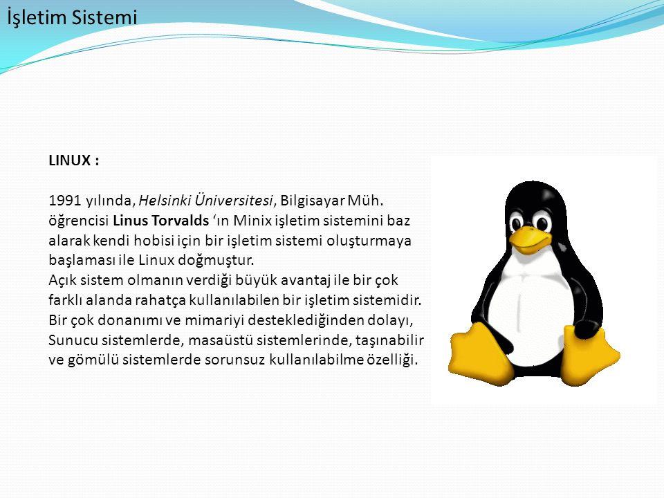 İşletim Sistemi LINUX :