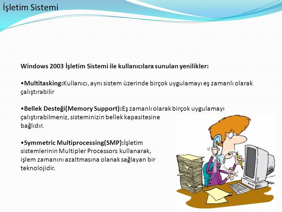 İşletim Sistemi Windows 2003 İşletim Sistemi ile kullanıcılara sunulan yenilikler: