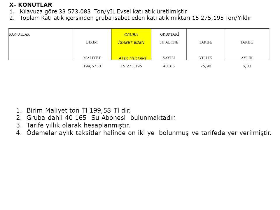 Birim Maliyet ton Tl 199,58 Tl dir.
