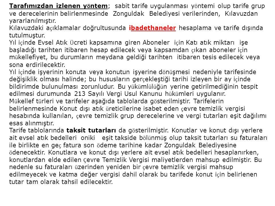 Tarafımızdan izlenen yöntem; sabit tarife uygulanması yöntemi olup tarife grup ve derecelerinin belirlenmesinde Zonguldak Belediyesi verilerinden, Kılavuzdan yararlanılmıştır.