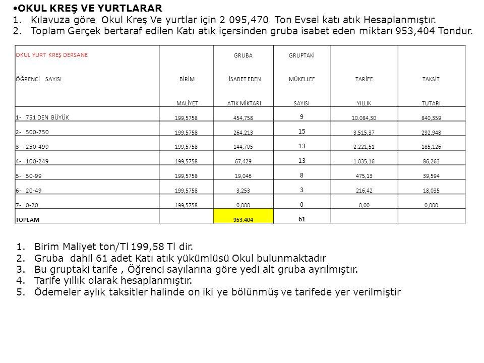 Birim Maliyet ton/Tl 199,58 Tl dir.