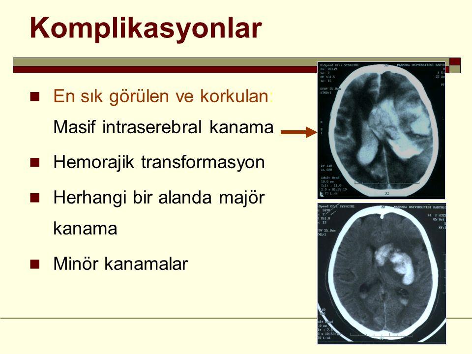 Komplikasyonlar En sık görülen ve korkulan: Masif intraserebral kanama