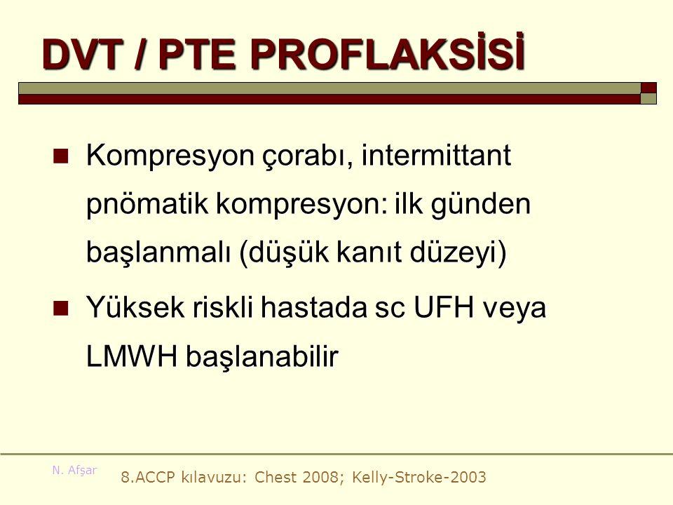 DVT / PTE PROFLAKSİSİ Kompresyon çorabı, intermittant pnömatik kompresyon: ilk günden başlanmalı (düşük kanıt düzeyi)