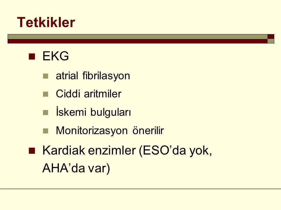 Tetkikler EKG Kardiak enzimler (ESO'da yok, AHA'da var)