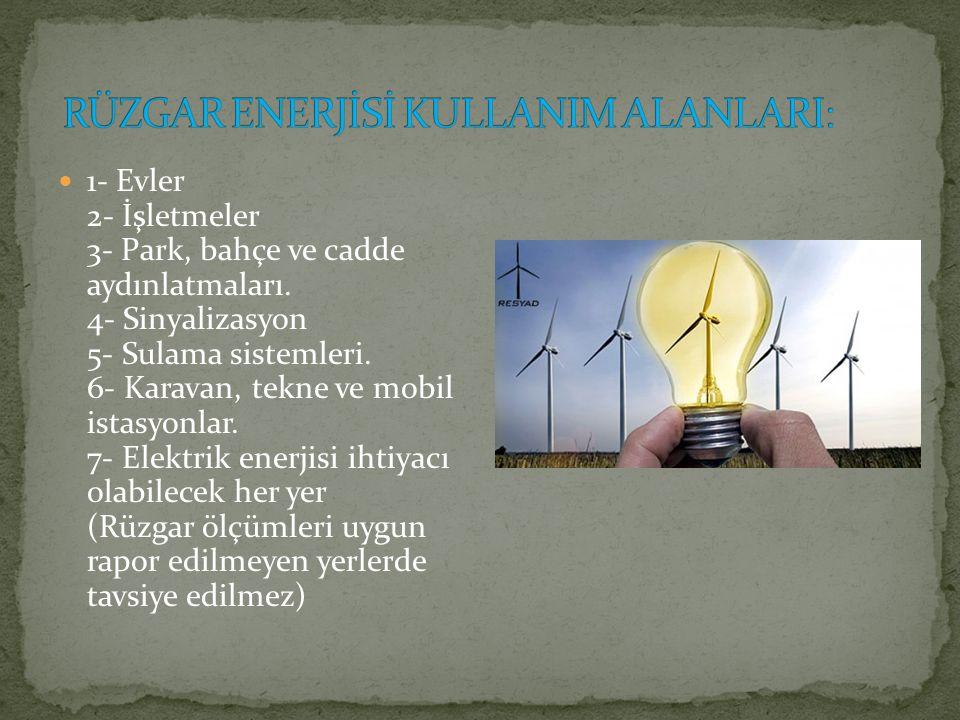 RÜZGAR ENERJİSİ KULLANIM ALANLARI: