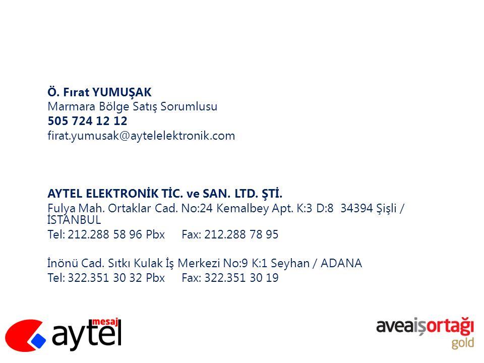 Ö. Fırat YUMUŞAK Marmara Bölge Satış Sorumlusu. 505 724 12 12. firat.yumusak@aytelelektronik.com.