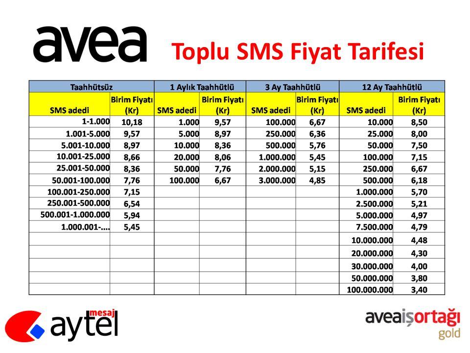 Toplu SMS Fiyat Tarifesi