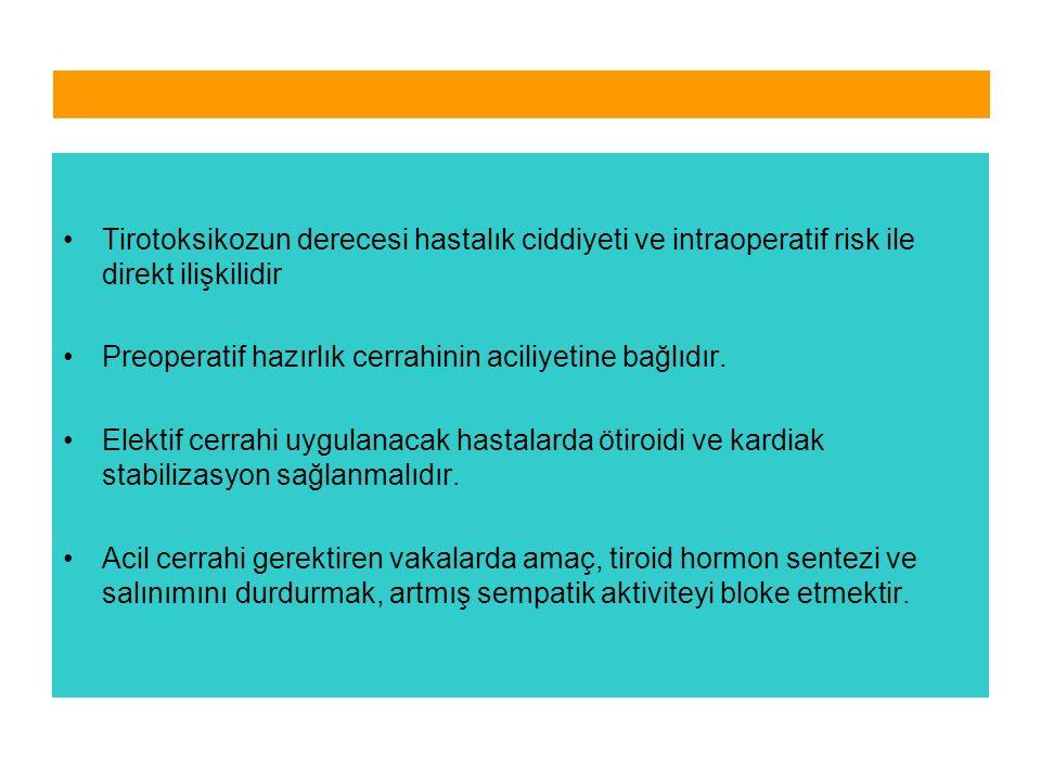 Tirotoksikozun derecesi hastalık ciddiyeti ve intraoperatif risk ile direkt ilişkilidir